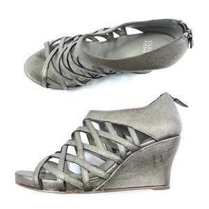 Eileen Fisher Metallic Cage Lattice Wedge Sandals